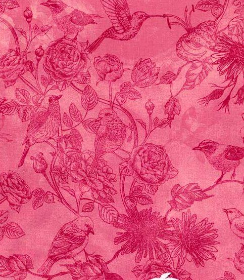 Cotton Quilt Fabric Petal Party Bird Toile Pink Chong-a Hwang - product images  of