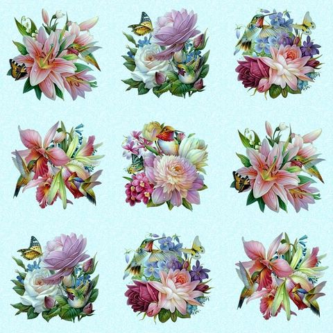 Cotton,Quilt,Fabric,Hummingbird,Bouquet,Bird,Floral,Blocks,Lt,Blue,Panel,24,,quilt backing, dresses, quilt fabric,cotton material,auntie chris quilt,sewing,crafts,quilting,online fabric,sale fabric