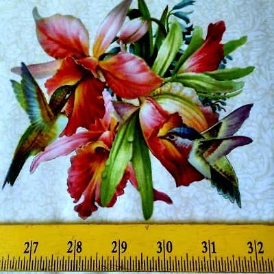 "Cotton Quilt Fabric Hummingbird Bouquet Bird Floral Blocks Lt Blue Panel 24"" - product images  of"
