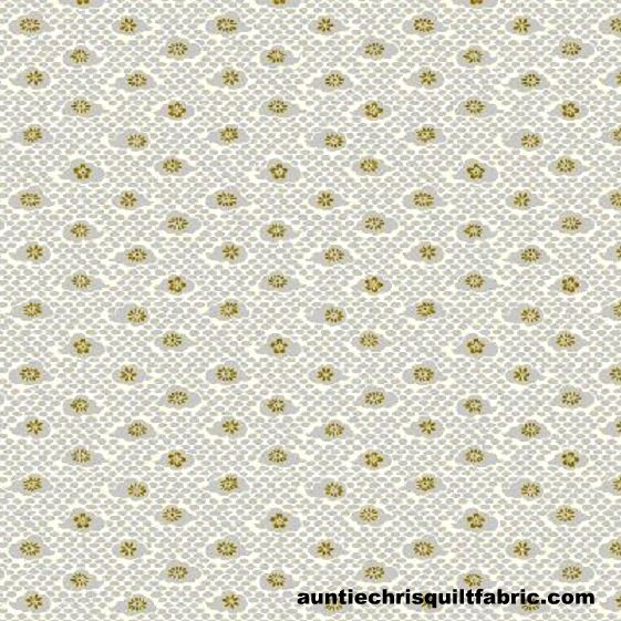 Cotton Quilt Fabric Hyakka Ryoran Modern Movement 2 Clouds and Flowers Gray   - product images  of