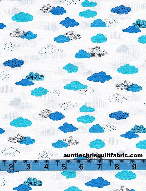 Cotton Quilt Fabric Flight by Dear Stella Cloud Nine on White  - product images  of