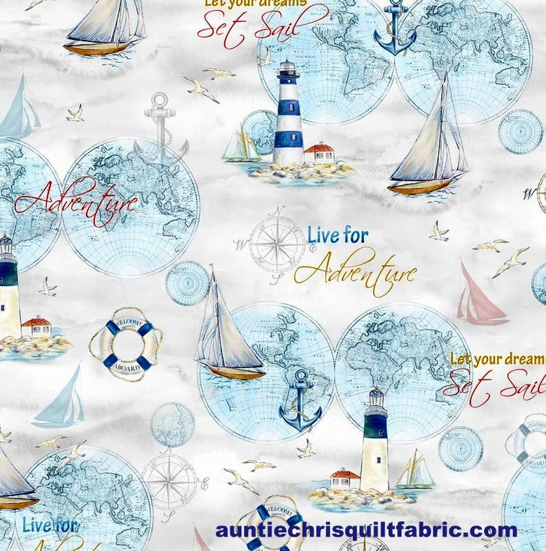 Cotton Quilt Fabric Harbor Lights Grey Multi Nautical Sailing - product images  of