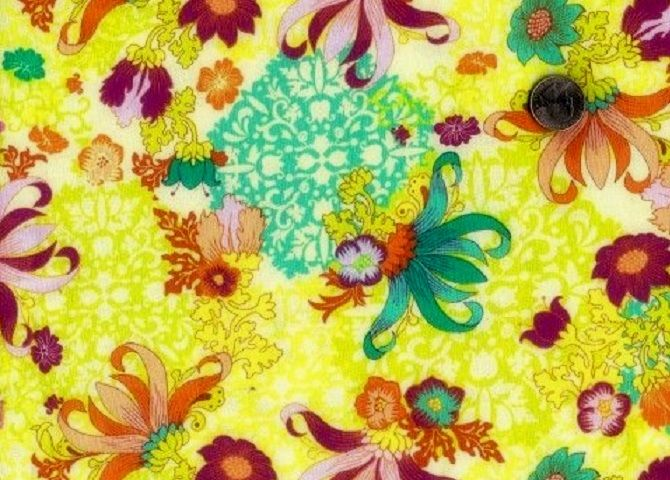 Cotton Quilt Fabric Gabrielle Lotus Fabric Lime Pink Floral  - product images  of