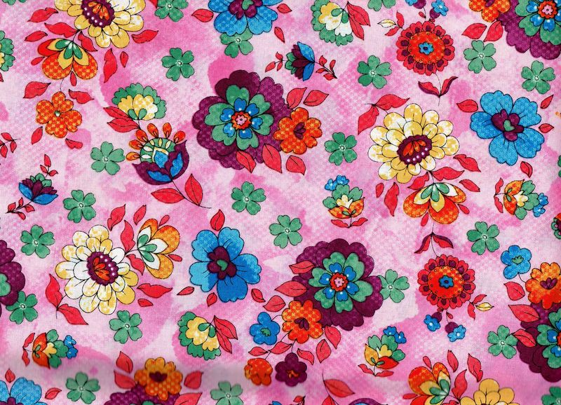 Cotton Quilt Fabric Quilting Bee Roses Floral Multi Pink Red Blue - product images  of