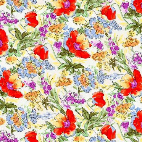 Cotton,Quilt,Fabric,Rose,&,Hubble,Evelyn's,Tulips,Cream,,quilt backing, dresses, quilt fabric,cotton material,auntie chris quilt,sewing,crafts,quilting,online fabric,sale fabric