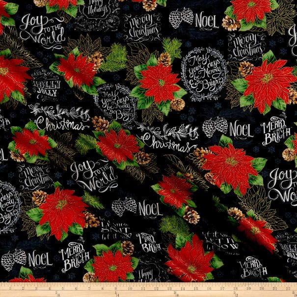 Cotton Quilt Fabric Chalk Poinsettias Merry and Bright Christmas Metallic - product images  of