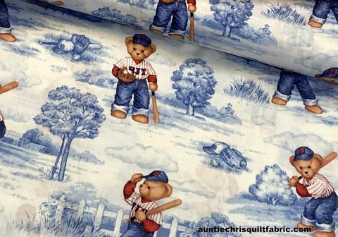 Cotton,Quilt,Fabric,Batter,up,Teddy,Bear,Baseball,Toile,,quilt backing, dresses, quilt fabric,cotton material,auntie chris quilt,sewing,crafts,quilting,online fabric,sale fabric