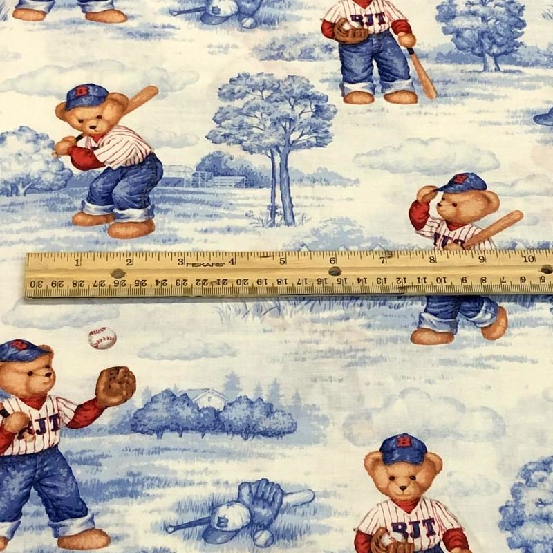 Cotton Quilt Fabric Batter up Teddy Bear Baseball Toile  - product images  of