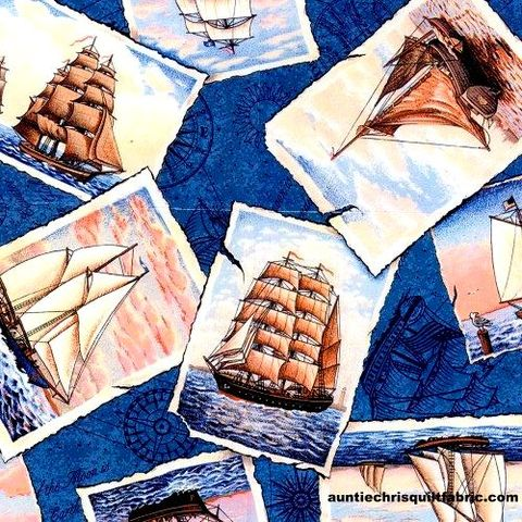 Cotton,Quilt,Fabric,Nautical,Ports,of,Call,Postcards,Sailing,Ships,,quilt backing, dresses, quilt fabric,cotton material,auntie chris quilt,sewing,crafts,quilting,online fabric,sale fabric