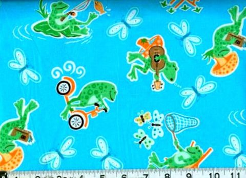 Cotton,Quilt,Fabric,Silly,Froggy,Frogs,Blue,Multi,,quilt backing, dresses, quilt fabric,cotton material,auntie chris quilt,sewing,crafts,quilting,online fabric,sale fabric