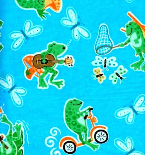 Cotton Quilt Fabric Silly Froggy Frogs Blue Multi  - product images  of