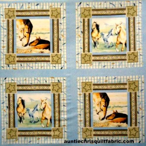 Cotton Quilt Fabric Natures Gifts Horse Pillow Panel Equestrian Denim - product images  of