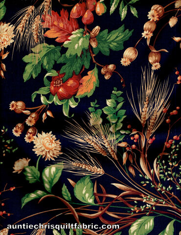 Cotton,Quilt,Fabric,Secrets,of,the,Autumn,Harvest,Fall,Floral,Berries,Navy,Multi,,quilt backing, dresses, quilt fabric,cotton material,auntie chris quilt,sewing,crafts,quilting,online fabric,sale fabric