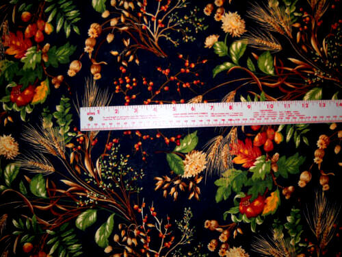 Cotton Quilt Fabric Secrets of the Autumn Harvest Fall Floral Berries Navy Multi - product images  of