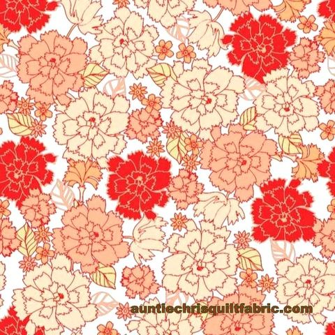 Cotton,Quilt,Fabric,Garden,Delights,Packed,Carnations,Peach,4GSE-2,,quilt backing, dresses, quilt fabric,cotton material,auntie chris quilt,sewing,crafts,quilting,online fabric,sale fabric