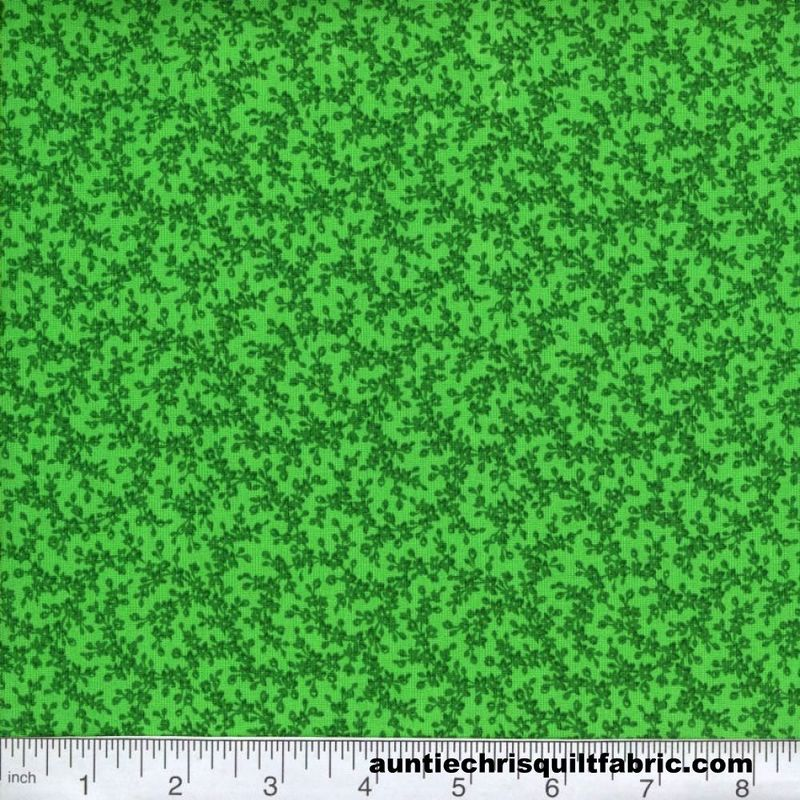 Cotton Quilt Fabric Quilters Calico Kelly Green Tone On Tone Floral - product image