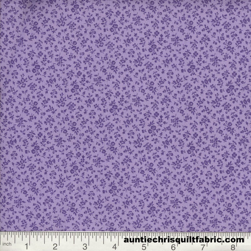 Cotton Quilt Fabric Quilters Calico Flowers 238 Purple Lilac Floral - product image