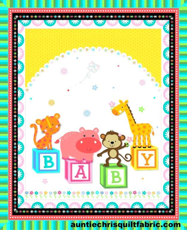 Cotton Quilt Fabric BABY BLOCKS BABY PANEL Nursery - product images  of