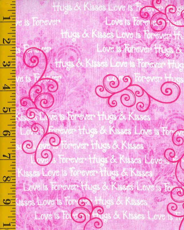 Cotton Quilt Fabric Hearts of Love Monotone Scrolls With Words Pink - product images  of