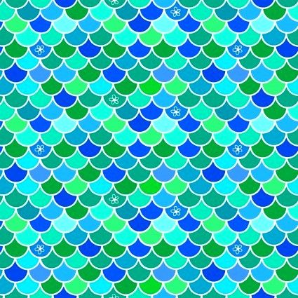 Cotton Quilt Fabric Mermaids Rock Scales Turquoise  - product images  of