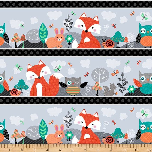 Cotton Quilt Fabric Owl's Woodland Adventure Woodland Stripe Grey Multi - product images  of