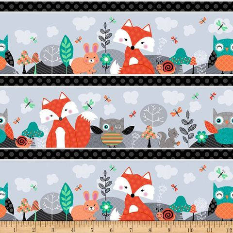 Cotton,Quilt,Fabric,Owl's,Woodland,Adventure,Stripe,Grey,Multi,,quilt backing, dresses, quilt fabric,cotton material,auntie chris quilt,sewing,crafts,quilting,online fabric,sale fabric
