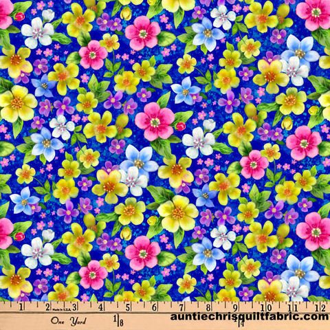 Cotton,Quilt,Fabric,Epic,Owls,Floral,Royal,Blue,Multi,Digitally,Printed,,quilt backing, dresses, quilt fabric,cotton material,auntie chris quilt,sewing,crafts,quilting,online fabric,sale fabric