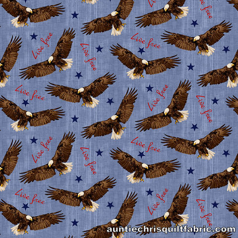 Cotton,Quilt,Fabric,Live,Free,Flying,Eagle,Patriotic,Red,White,Blue,,quilt backing, dresses, quilt fabric,cotton material,auntie chris quilt,sewing,crafts,quilting,online fabric,sale fabric