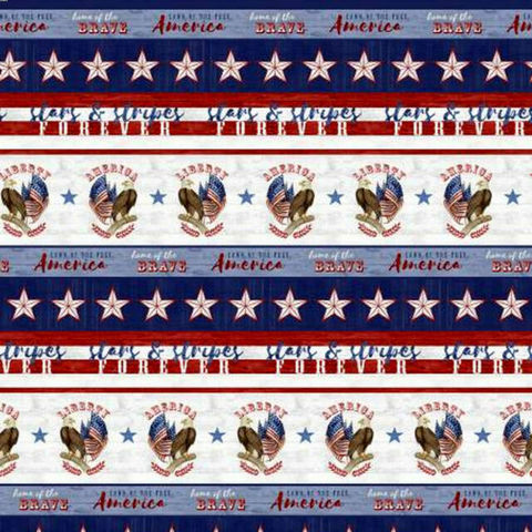 Cotton,Quilt,Fabric,Live,Free,Border,Stripe,Patriotic,Red,White,Blue,,quilt backing, dresses, quilt fabric,cotton material,auntie chris quilt,sewing,crafts,quilting,online fabric,sale fabric