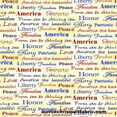 Cotton,Quilt,Fabric,Land,of,the,Free,Tossed,Words,Patriotic,Red,White,Blue,,quilt backing, dresses, quilt fabric,cotton material,auntie chris quilt,sewing,crafts,quilting,online fabric,sale fabric