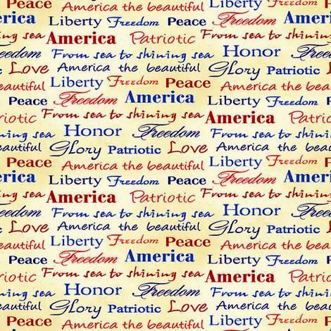 Cotton Quilt Fabric Land of the Free Tossed Words Patriotic Red White Blue - product images  of