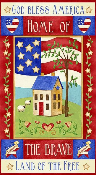 Cotton Quilt Fabric Land of the Free Panel Patriotic Red White Blue - product images  of