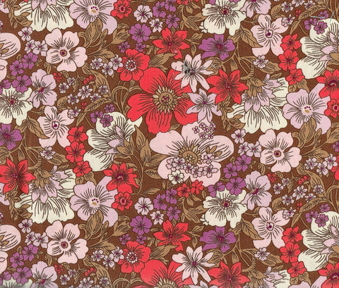 Cotton,Quilt,Fabric,Pretty,Petals,Dk,Antler,Brown,Multi,Cut,Yards,,quilt backing, dresses, quilt fabric,cotton material,auntie chris quilt,sewing,crafts,quilting,online fabric,sale fabric