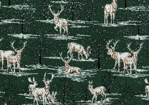 Cotton,Quilt,Fabric,Snowy,Deer,Dk,Pine,Green,Ecru,Cut,Yards,,quilt backing, dresses, quilt fabric,cotton material,auntie chris quilt,sewing,crafts,quilting,online fabric,sale fabric