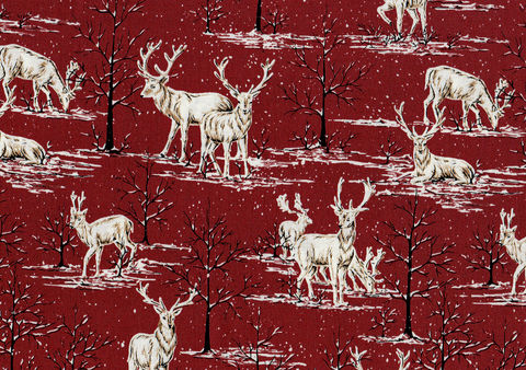 Cotton,Quilt,Fabric,Snowy,Deer,Rusty,Red,Ecru,Cut,Yards,,quilt backing, dresses, quilt fabric,cotton material,auntie chris quilt,sewing,crafts,quilting,online fabric,sale fabric
