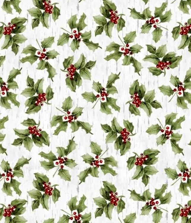 Cotton Quilt Fabric Christmas Sheltering Snowman Mistletoe Green On Birch - product images  of