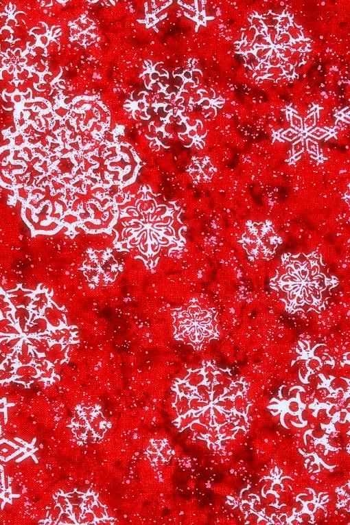 Cotton Quilt Fabric Christmas Sheltering Snowman Swirling Snowflakes White Red - product images  of