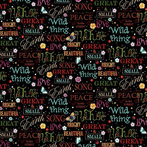 Cotton,Quilt,Fabric,Peace,In,The,Forest,Allover,Words,Love,Earth,,quilt backing, dresses, quilt fabric,cotton material,auntie chris quilt,sewing,crafts,quilting,online fabric,sale fabric