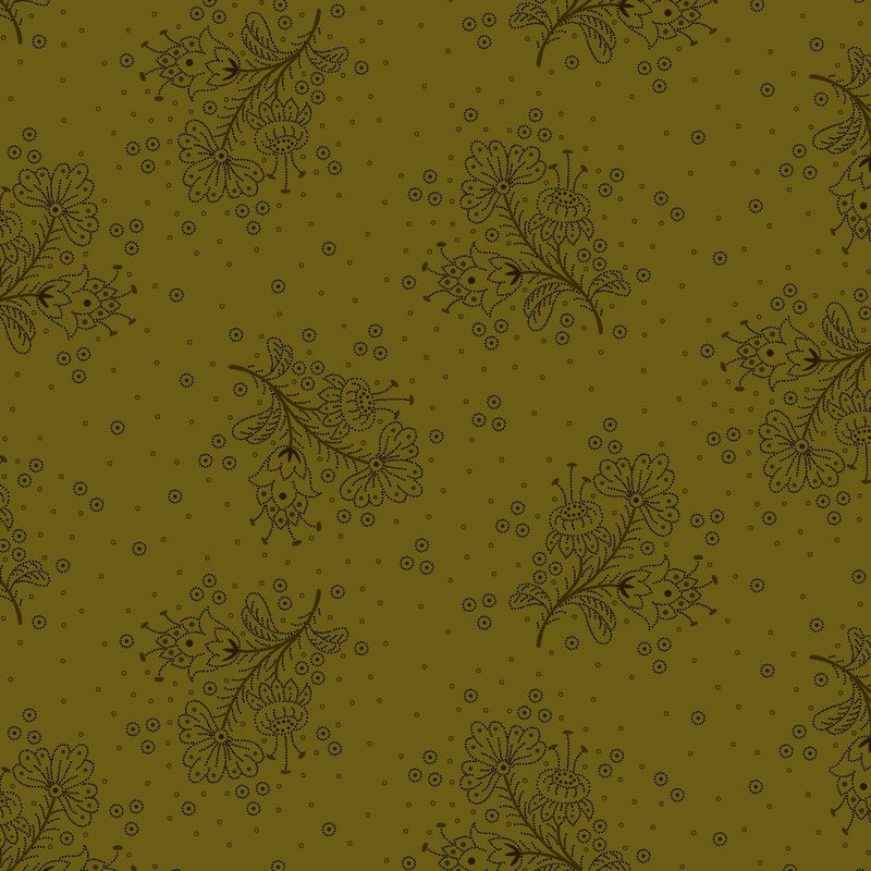 Cotton Quilt Fabric Esters Heirloom Shirtings Floral Sprays Green Kim Diehl - product images  of