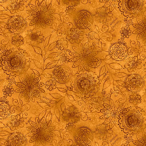Cotton Quilt Fabric Best of Days  Wall Flower Gold Janet Rae Nesbitt - product images  of