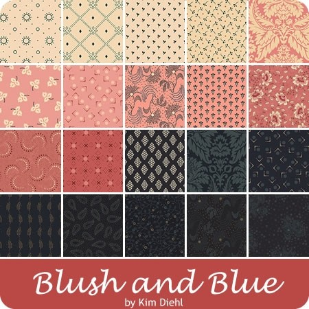 Cotton Quilt Fabric Blush and Blue Framed Polka Dots Blush Pink Kim Diehl  - product images  of