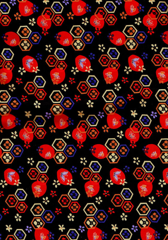 Cotton Quilt Fabric Asian Beverlyann Stillwell  Black Floral - product images  of