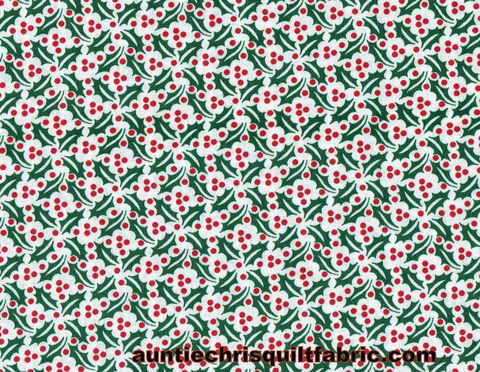 Cotton,Quilt,Fabric,Christmas,Holly,Red,White,Green,Holiday,,quilt backing, dresses, quilt fabric,cotton material,auntie chris quilt,sewing,crafts,quilting,online fabric,sale fabric