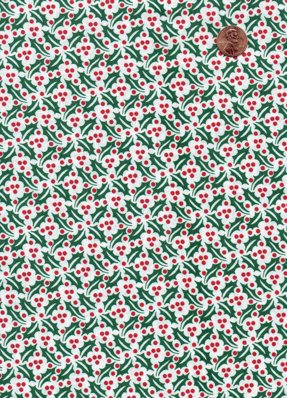 Cotton Quilt Fabric Christmas Holly Red White Green Holiday - product images  of