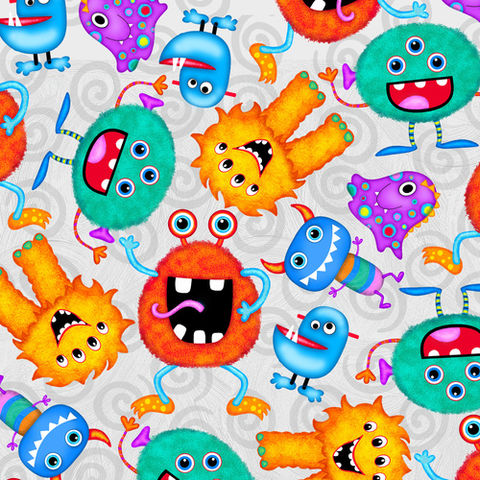 Cotton,Quilt,Fabric,Quality,Flannel,A.E.,Nathan,Funny,Monsters,Gray,,quilt backing, dresses, quilt fabric,cotton material,auntie chris quilt,sewing,crafts,quilting,online fabric,sale fabric