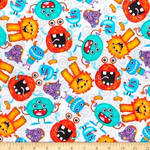 Cotton Quilt Fabric Quality Flannel A.E. Nathan Funny Monsters Gray - product images  of