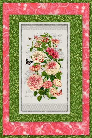 Easy,Fabric,Panel,Quilt,Kit,Le,Bouquet,French,Floral,kit,quilt fabric,cotton material,auntie chris quilt,sewing,crafts,quilting,online fabric,sale fabric