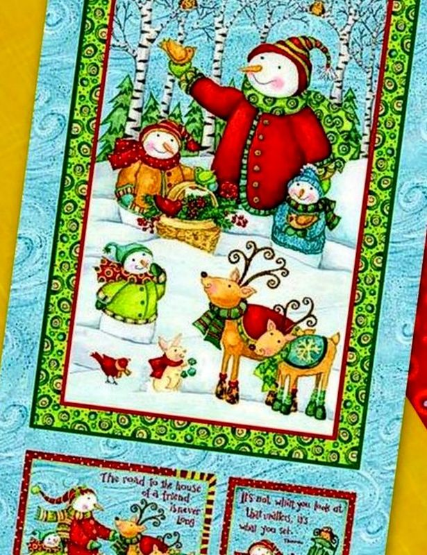 Cotton Quilt Fabric Christmas Winter Woodlands Snowman Panel - product images  of