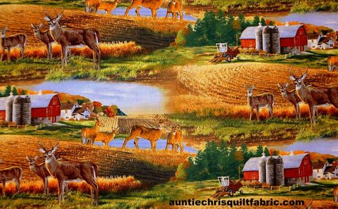 Cotton,Quilt,Fabric,WHITETAIL,COUNTRY,Farm,LANDSCAPE,Multi,,quilt backing, dresses, quilt fabric,cotton material,auntie chris quilt,sewing,crafts,quilting,online fabric,sale fabric
