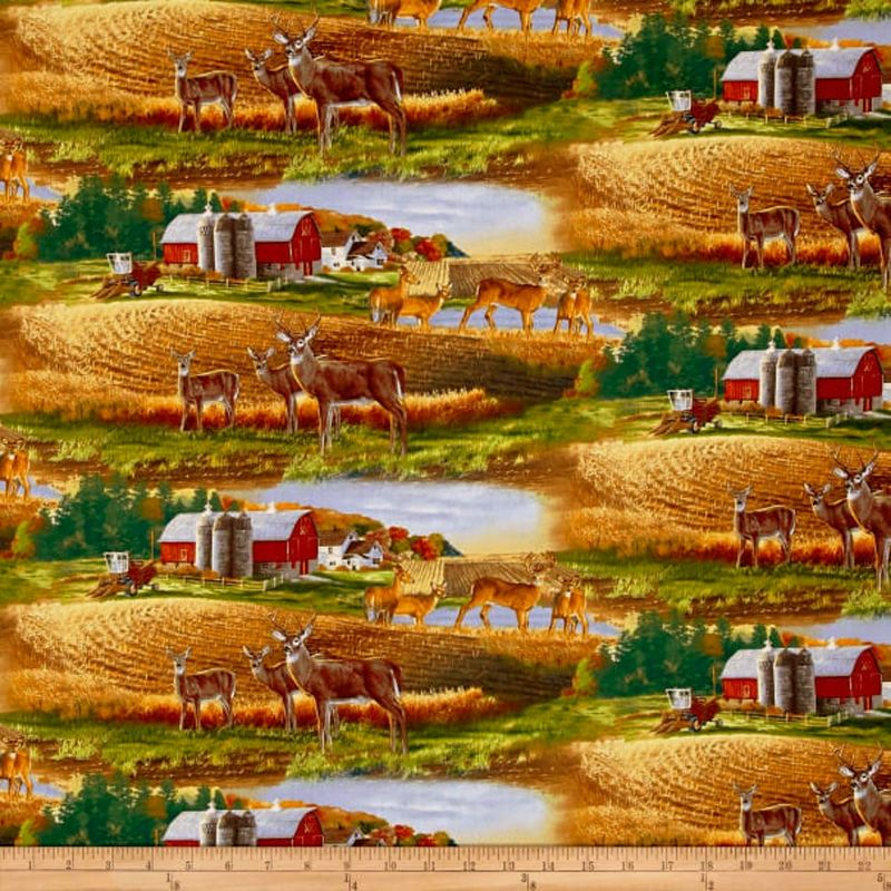 Cotton Quilt Fabric WHITETAIL COUNTRY Farm LANDSCAPE Multi - product images  of